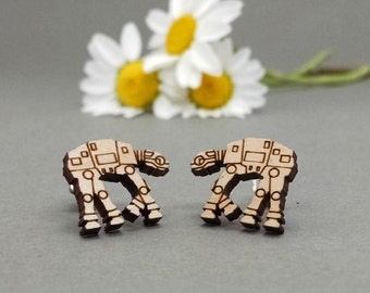 Star Wars AT-AT Walker Earrings - Laser Engraved on Maple Wood - Hypoallergenic Titanium Post Earrings - ATAT