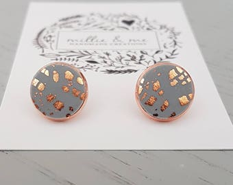 Rose gold and grey copper clay stud earrings, polymer clay, rose gold earrings, grey  earrings, gift for her, rose gold, copper earrings