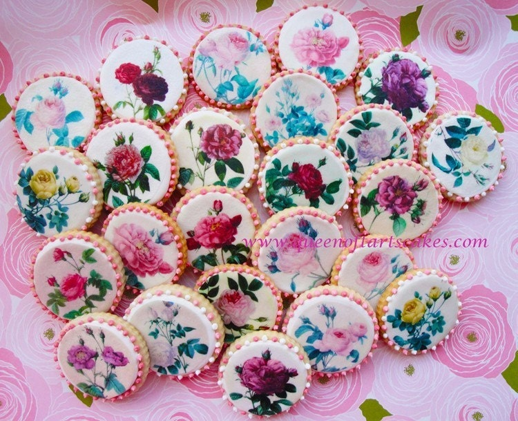 Edible Image VIntage Roses Wafer Paper For Cookies Cupcakes