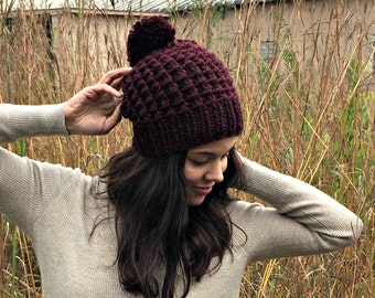 Hand Knit Hat Womens Chunky Pom Pom Slouch Hat - Maroon - MADE TO ORDER