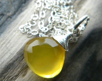 Bright golden honey yellow chalcedony faceted briolette necklace - sterling silver handmade jewelry
