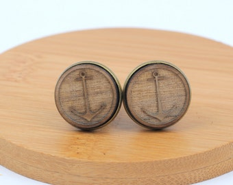 Wood Cuff Links, ANCHOR design, wood cuff links, bronze plated, nautical cuff links, sailing cuff links, boat cuff links, gft0093