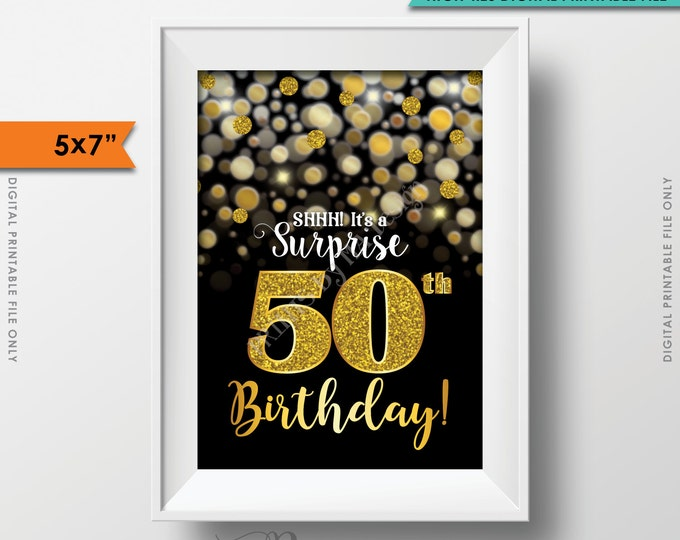 "Surprise Birthday Invitation 50th Black & Gold Glitter Bokeh 50th B-day Turning Fifty Invite, 5x7"" Instant Download Digital Printable File"