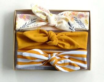 Baby Headband Set  // Floral Baby Headwrap // Mustard Headband // Stripe Headband // Top Knot Headband // Baby Photo Prop