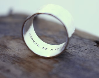 Personalized Sterling Silver wide band Ring - Inspirational Ring