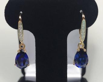 Beautiful 6ctw Sapphire & Diamond Earrings 14k Gold Drop Dangle Leverback Sapphire Jewelry Gift Bridal Wife Lady Fiancé September