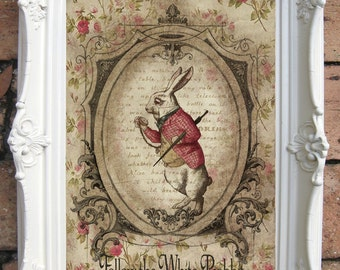 ALICE in WONDERLAND Decor Shabby Decor  Alice in Wonderland Print White Rabbit Chesire Mad Hatter We are all mad here Alice Art Print C:A07