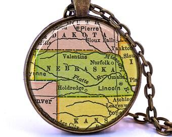 Nebraska Map Pendant Necklace - Created from a vintage map published in 1934.  Nebraska Gift, Nebraska Jewelry, Nebraska Necklace