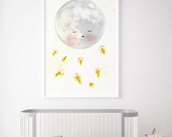 Moon space astronaut, Boys room decor, boys wall decor, boys room wall art, art for boys room, kids room decor, boy nursery decor