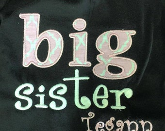 Monogram big sister shirt