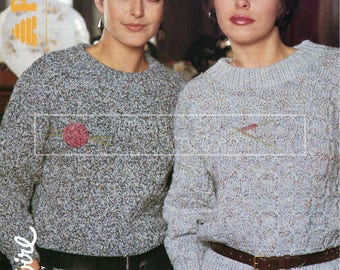 Teen Lady's Textures Sweater 30-38in Chunky Patons 8035 Vintage Knitting Pattern PDF instant download