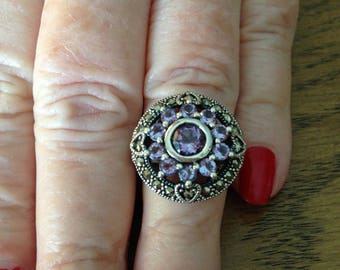 Sterling  Silver Amethyst & Marcasite Ring