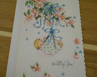 1950s Welcome Baby Card Vintage Unused  Paper Ephemera