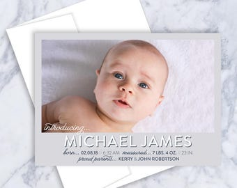 Birth Announcement Card, Baby Announcement, Baby Boy, Baby Girl, Personalized Announcement, New Baby, Baby Stats Card, Custom Birth Stats