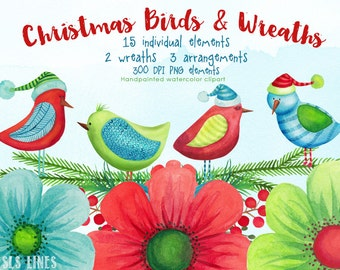 christmas watercolor clipart, xmas birds watercolor graphics, Christmas wreaths watercolor florals for invites, handpainted clipart