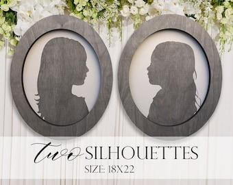 Farmhouse Style Silhouettes (QUANTITY 2) 18x22 MORE COLORS / child silhouettes / child portraits / wood silhouettes