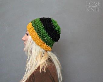 Sale Hand Knitted Beanie Hat . Womens Beanie. Womens Tam Hat . Slouchy Beanie . Green Knit Beanie . Black Slouchy Beanie . Striped Knit Hat