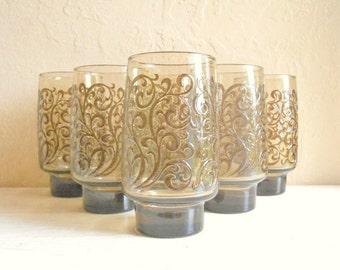 Set of 6 Tall Brown Smoke Glass Swirl Mid-Century Drinking Glasses Highball Tumblers