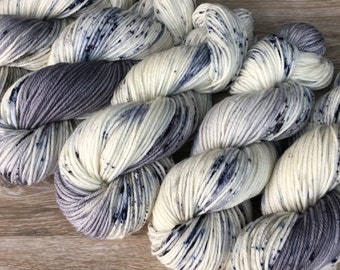 To the Moon and Back - DK or Worsted Weight Speckled Hand Dyed Yarn, 100% Superwash Merino 4-Ply, Outerspace Moon