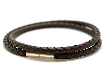 Mens 4mm Braided Rubber Bracelet With Sterling Silver Push & Twist Clasp-Double Wrap Dark Brown