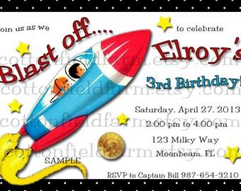 Retro Spaceship Party Invitation Personalized Digital Download C-411