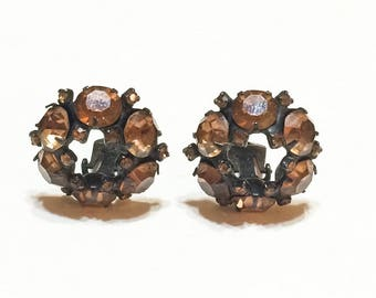 Small Crystal Earrings, Root Beer Brown Rhinestone Button Earrings, Signed Warner, Fall Colors, Wedding Special Occasion Vintage Jewelry