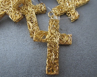 Wire Wrapped Cross Pendant 5pcs