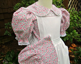 Girls Pioneer Dress Pinafore, and Bonnet ..Laura Ingalls..  (PLEASE check lead time inside of ad)