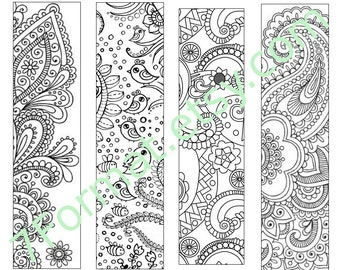 Bookmarks Coloring Printable, Instant Download. 15.