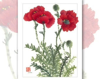 "Watercolor Chinese Brush Painting Cards  ""Poppies"""
