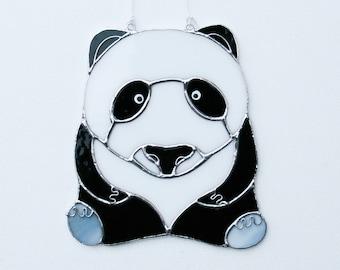 Handmade Suncatcher Stained Glass Panda Bear Gift Glass art