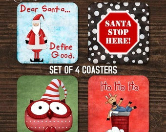 Christmas Coasters, Coaster Set, Holiday Coasters, Santa Coasters, Housewarming Gift, Drink Coasters, Christmas Gift, Coffee Coasters CHO3