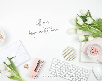 Styled Stock Photography | Flatlay Image | Spring Tulips and Purse 4 | Styled Photography | Digital Image