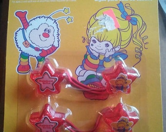 vintage rainbow brite star shaped hair ties from the 1980 s brand new in package. so cute