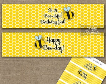 Bee Water Bottle Labels - Bumble Bee Birthday Water Bottle Wraps - Printable Bumble Bee Party Decorations - Bee Birthday Decor Labels BEE