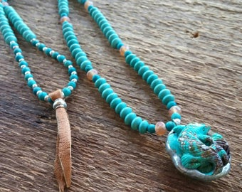 Turquoise Necklace, Gecko Necklace, Carved Turquoise Pendant, Long Necklace, Bohemian Jewelry, Boho Jewelry, Southwest Jewelry