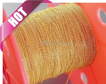 Top seller / 1 meter 1.3mm x 0.9mm Gold plated flat cable chains, fine chains for jewelry making, supplies B006-BG