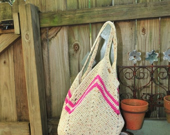 Crochet Beach Bag,Beach Bag,Crochet Bag,Summer Bag,Crochet Purse,100% Cotton.MADE IN USA!