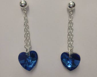 Stud Earrings - Navy Blue faceted glass and silver ridged chain hearts