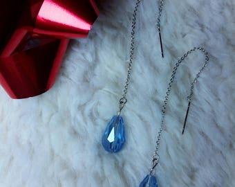 Rain drop tear drop silver and blue earrings