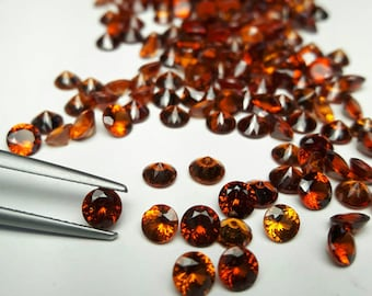 Four pieces 4mm natural Hessonite Garnet