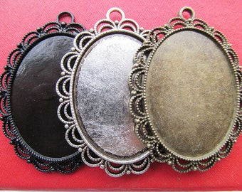 30x40mm Pendant Tray, Bezel Setting, 30x40mm Cabochon Tray - Antique Bronze,Antique Silver, Black