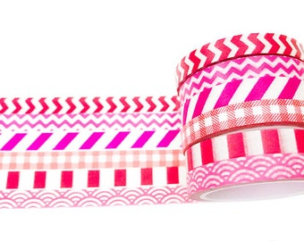 Rode en roze Chevron Checker en streep dun Washi Tape Set van zes 6 mm / geometrische Washi Tape / decoratieve Tapes