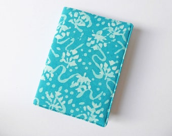 A6 Notebook Cover, Fabric Book Jacket, Diary Cover, A6 Planner Cover, Removable Book Sleeve, Batik Dyed Cotton, Free UK Shipping, UK Seller