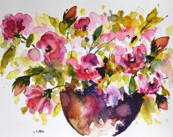 Original Watercolor Painting, Red Roses In a Vase 6x8 Inch
