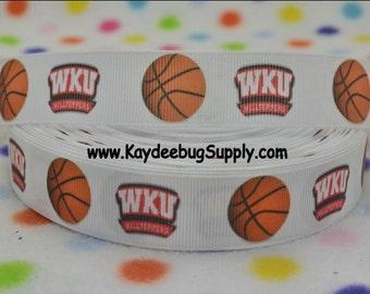 3 yards WKU Western Kentucky University - 7/8 in - Printed Grosgrain Ribbon