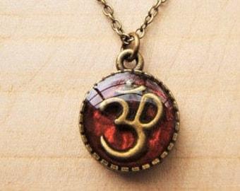 Small handmade Om Aum symbol pendant necklace. Red/bronze Om necklace Buddhist, Hindu,Yoga, Meditation.