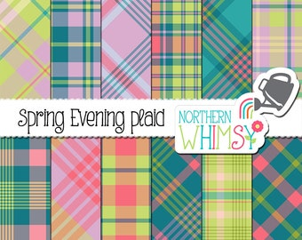 "Spring Digital Paper - ""Spring Evening Plaid"" - tartan patterns is blue, green, purple, and pink - scrapbook paper for commercial use"