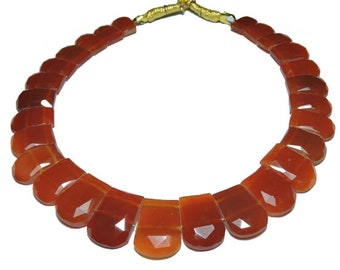 27 Pieces Beautiful Natural Red Onyx Rose Cut Fancy Shaped Beads Size 20X15-16X12 MM