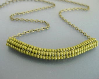 Beaded Necklace / Herringbone Necklace / Tube Necklace in Olive / Beadwork Necklace  / Beadwoven /  Green Necklace / Seed Bead Necklace /